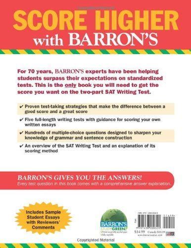 Barrons Sat Writing Workbook Review by Barron S Sat Writing Workbook 3rd Edition Barron S Writing Workbook For The New Sat