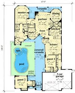 exciting courtyard house plan 33532eb 1st floor master