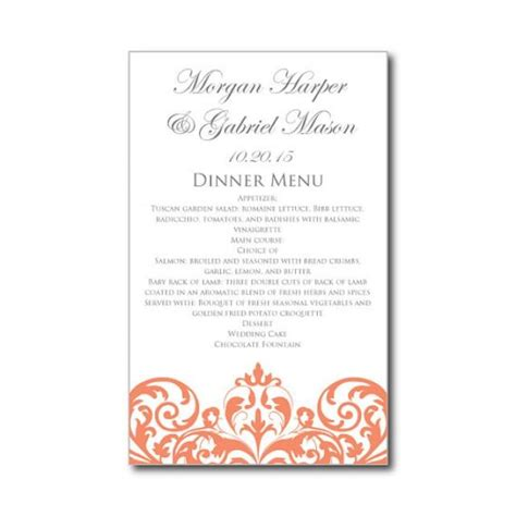 Wedding Menu Card Template by Wedding Menu Card Template Instant Damask
