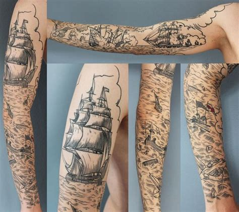 scrimshaw tattoo scrimshaw battleship sleeve from rich phipson