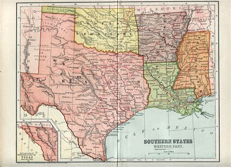 map of texas louisiana and mississippi 1883 map usa texas and oklahoma territory w railroad routes antique print