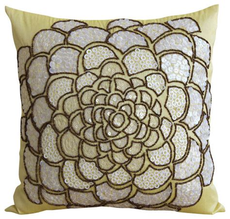 yellow decorative bed pillows white wildflower decorative yellow silk throw pillow cover