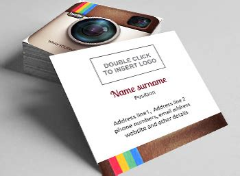 business card template with and instagram logo free square business cards 2 sided designs printivo