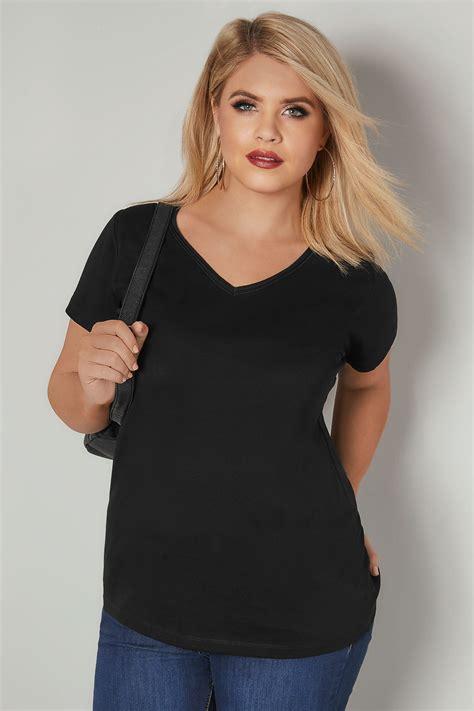 V Neck Basic Blouse White Neumor black sleeved v neck basic t shirt plus size 16 to 36