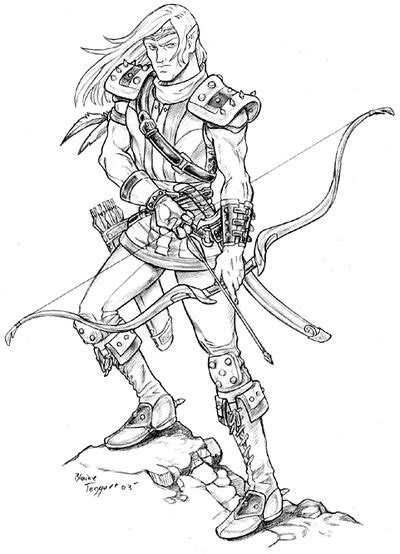 elf archer coloring pages female archer coloring pages