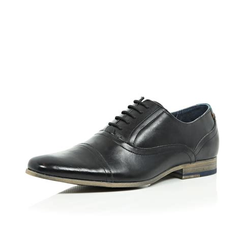 river island shoes river island black leather formal lace up shoes in black