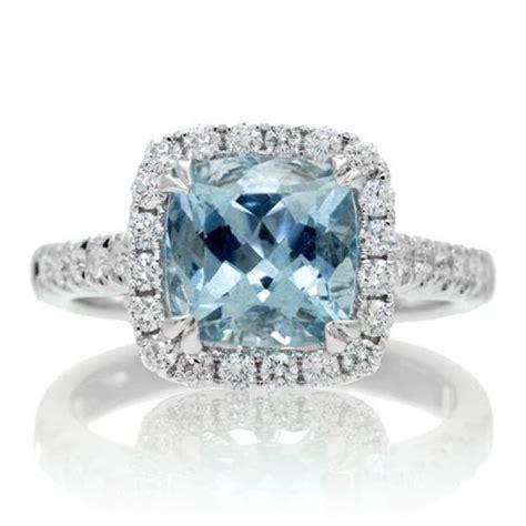 cushion aquamarine 8mm halo engagement ring