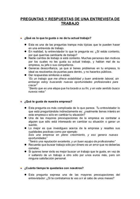 preguntas que hacen una entrevista de trabajo preguntas y respuestas en una entrevista de trabajo