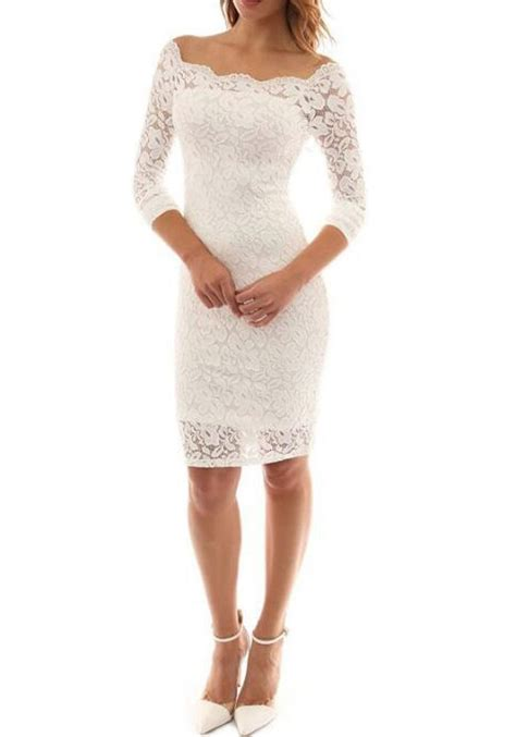 Plain Lace Midi Dress white plain lace hollow out shoulder bodycon