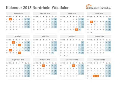 Kalender 2018 Mit Ferien Nrw Feiertage 2018 Nordrhein Westfalen Kalender