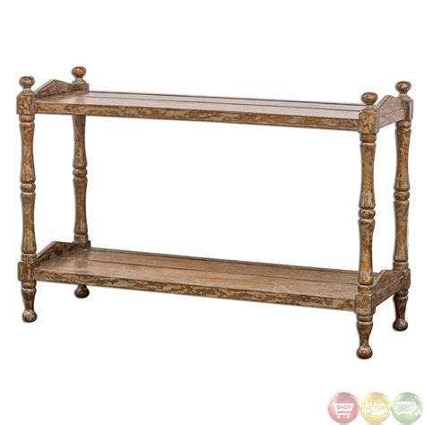Macaire Country Rustic Solid Wood Sofa Table 25597 Ebay Wooden Sofa Table