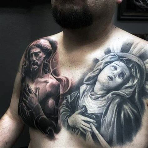 virgin mary tattoo on chest 70 mind blowing jesus tattoos for chest
