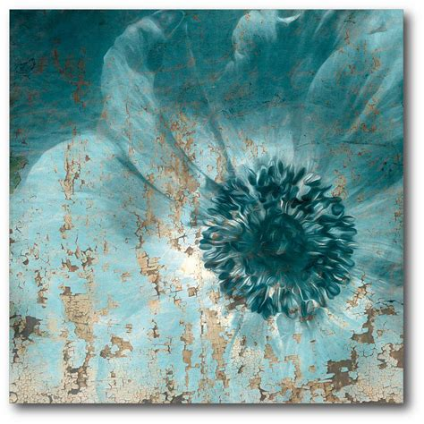Canvas Flower 16 16in x 16in teal flower wrapped canvas canvas wall