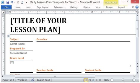 microsoft word template for making daily lesson plans