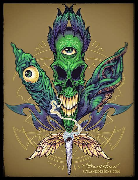 alien skull pot leaf  shirt  behance