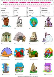 house printable exercises home house types vocabulary matching exercise worksheet