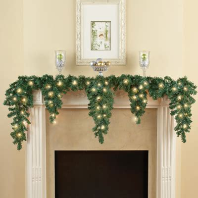 6ft cascading fireplace garland cascading lighted evergreen garland from collections etc