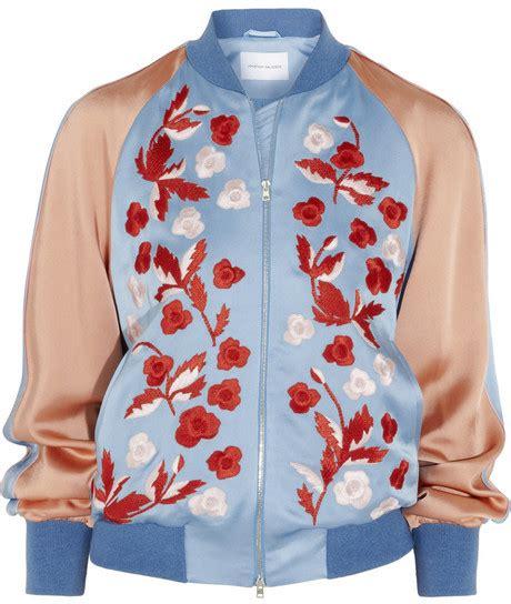 light blue satin bomber jacket jonathan saunders cecily embroidered satin bomber jacket