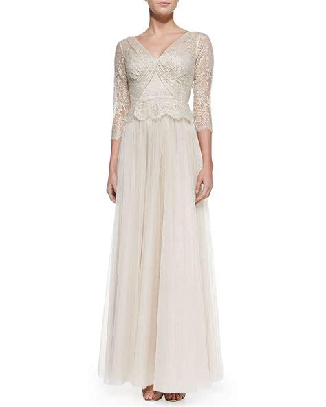 rickie freeman for teri jon 34 sleeve lace overlay gown navy rickie freeman for teri jon 3 4 sleeve lace illusion gown
