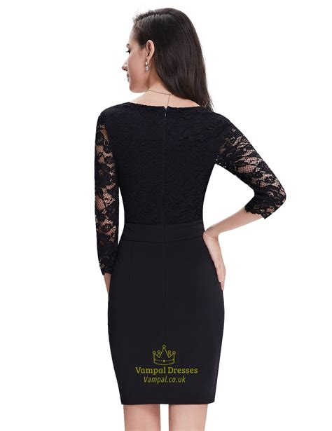 Dress Black 3 black lace sheath cocktail dress with 3 4 sleeves