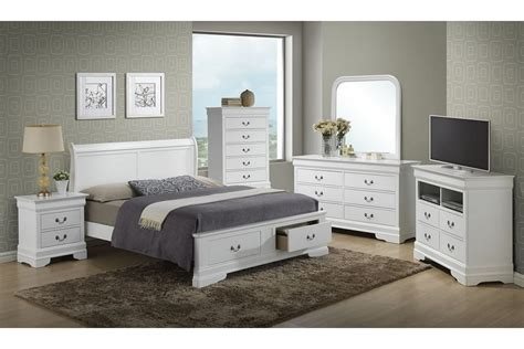 Modern White Stained Wooden Bed With End Storage Drawer White Bedroom Furniture