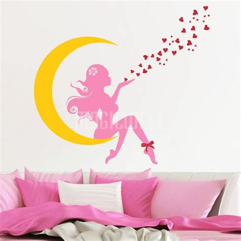 Design Your Own Wall Sticker fairy girl on the moon blowing hearts vinyl decals