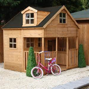 mercia 7 x 7 double storey wooden playhouse wendy house