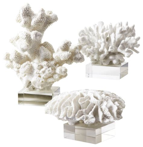 set of two vibrant red coral reef look figurines beach two s company white coral sculptures on glass stand set