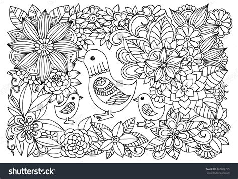 pattern art therapy black white flower pattern ducks coloring stock vector