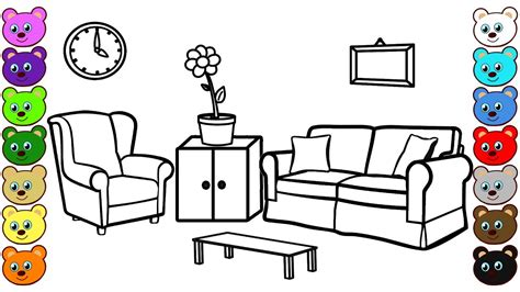 drawing room colour games learn colors for children with living room coloring page