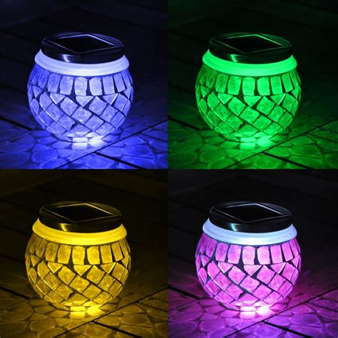 green solar lights solar glass mosaic jar rechargeable battery led garden