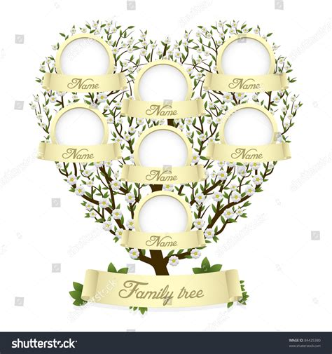 Family Tree Heart Shape Vector Illustration Stock Vector 84425380 Shutterstock Family Tree Stock Vector Illustration