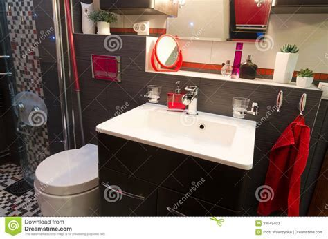 Modern Bathroom Interior With Red Accents Stock Photos
