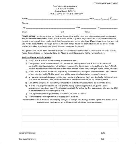 13 Consignment Agreement Templates Free Sle Exle Format Download Free Premium Hospice Contract Templates