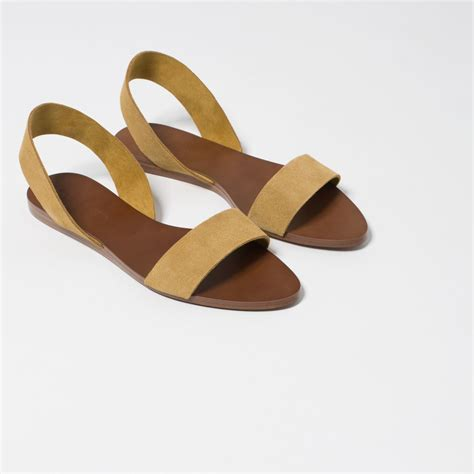 Lr 04 Sandal Flat zara flat leather sandals in lyst