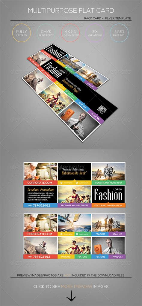 4 x 9 rack card with bleed psd template multipurpose flat rack card flyer template by katzeline