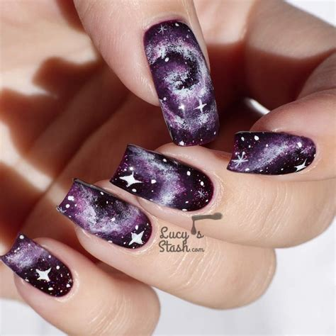 natural nail art tutorial purple galaxy nails tutorial nails art polish tips