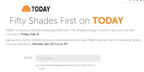 First Sweepstakes - today show fifty shades first on today sweepstakes sweeps maniac