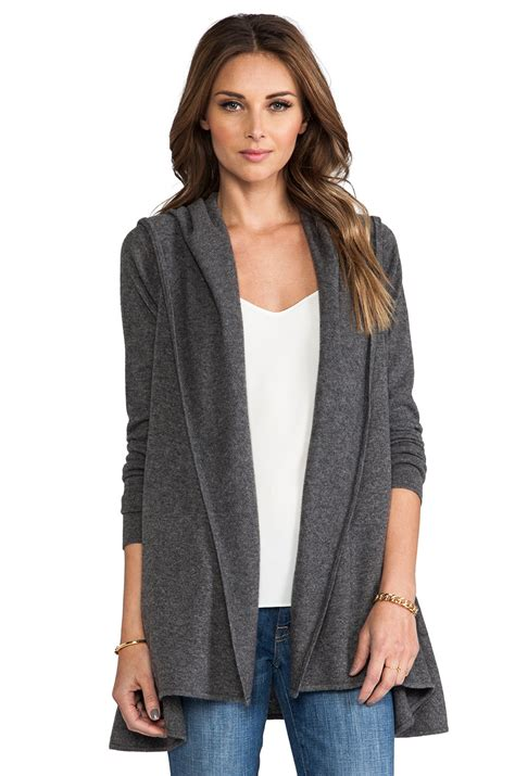 hooded drape cardigan vince cashmere lux hooded drape cardigan in charcoal in