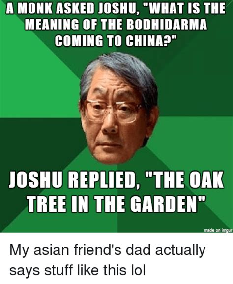 Asian Friend Meme - a monk asked joshu what is the meaning of the bodhidarma