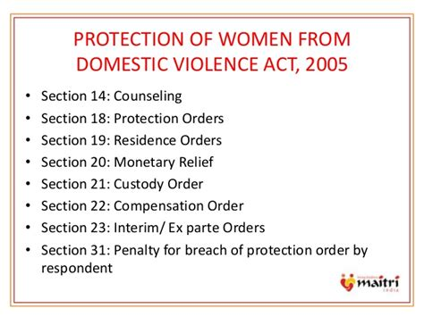 section 22 of domestic violence act domestic violence presentation by maitri india