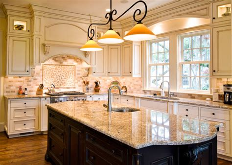 glazed kitchen with contrasting island traditional