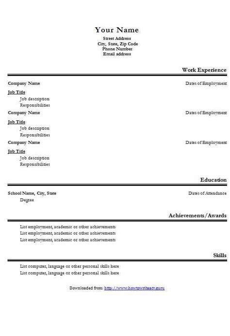 Basic Cv Format by Alternative Basic Cv Template How To Write A Cv