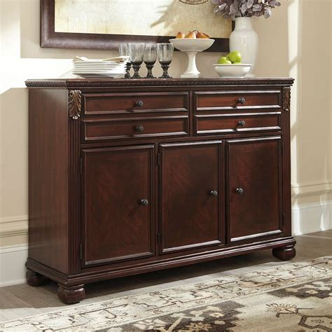 kitchen servers furniture leahlyn reddish brown buffet buffets sideboards and