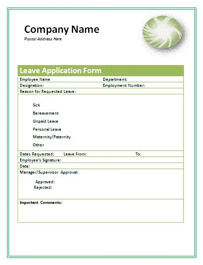 leave application form a to z free printable sle forms