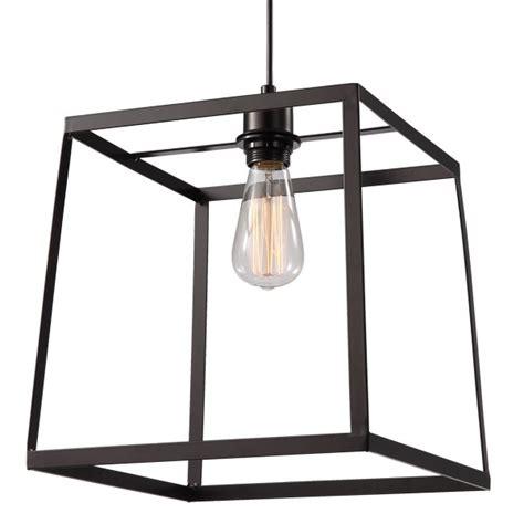 cube pendant light cube black large metal cage pendant lighting
