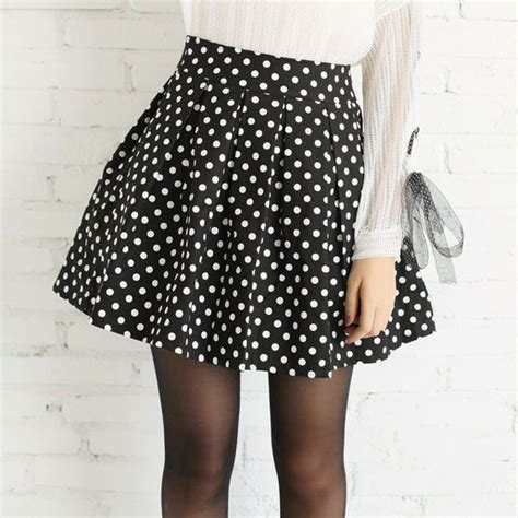 Skirt Xx62081white M L white polka dot skirts 2015 plus size m l summer black pleated skirt jpg