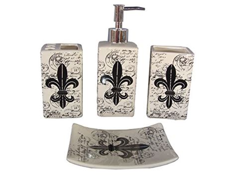 fleur de lis bathroom sets indecor home 4 piece ceramic fleur de lis bath set new ebay