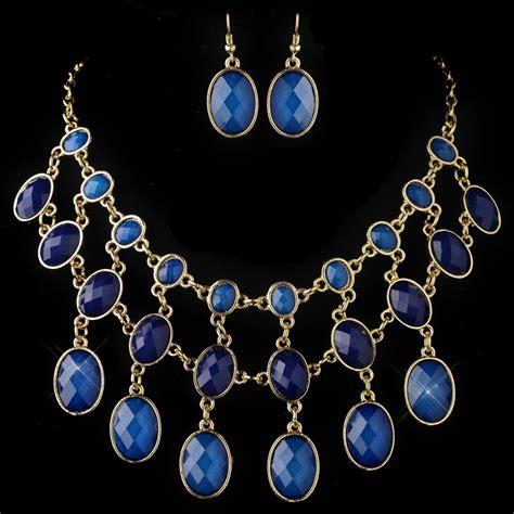 acrylic for jewelry gold blue acrylic fashion bib style jewelry set 82032