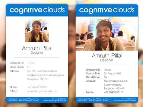 design staff id card employee id cards design prototype by amruth pillai